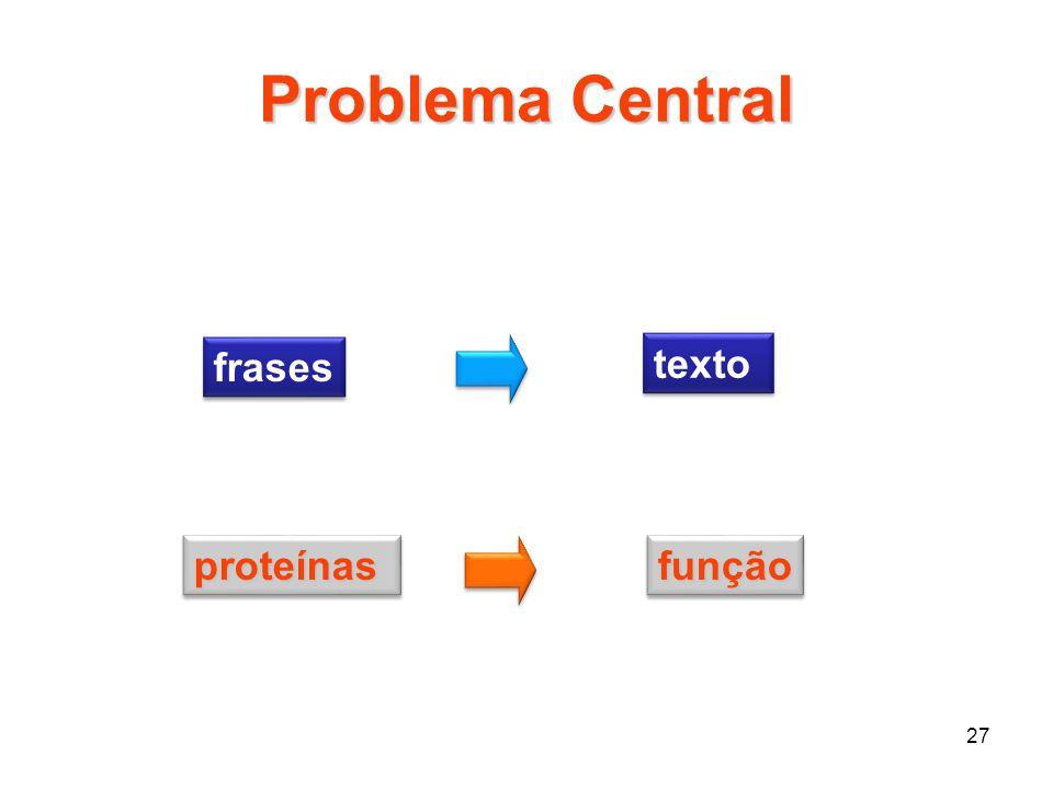 27 Problema Central frases texto proteínasproteínasfunçãofunção