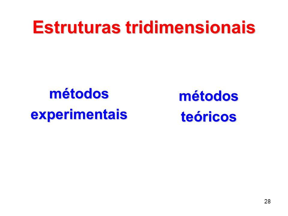 28 Estruturas tridimensionais métodosexperimentais métodosteóricos
