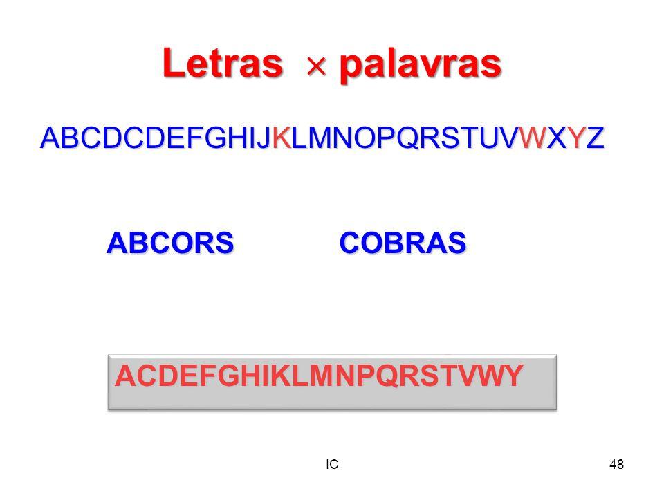 IC48 Letras palavras ABCDCDEFGHIJKLMNOPQRSTUVWXYZ ACDEFGHIKLMNPQRSTVWYACDEFGHIKLMNPQRSTVWY ABCORSCOBRAS