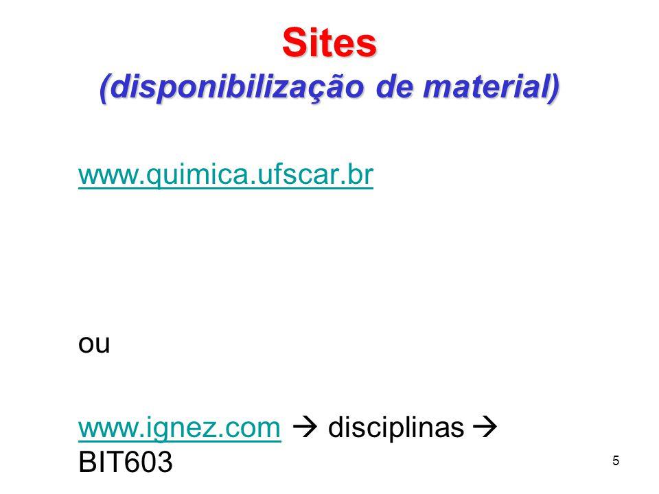 Sites (disponibilização de material) www.quimica.ufscar.br ou www.ignez.comwww.ignez.com disciplinas BIT603 5
