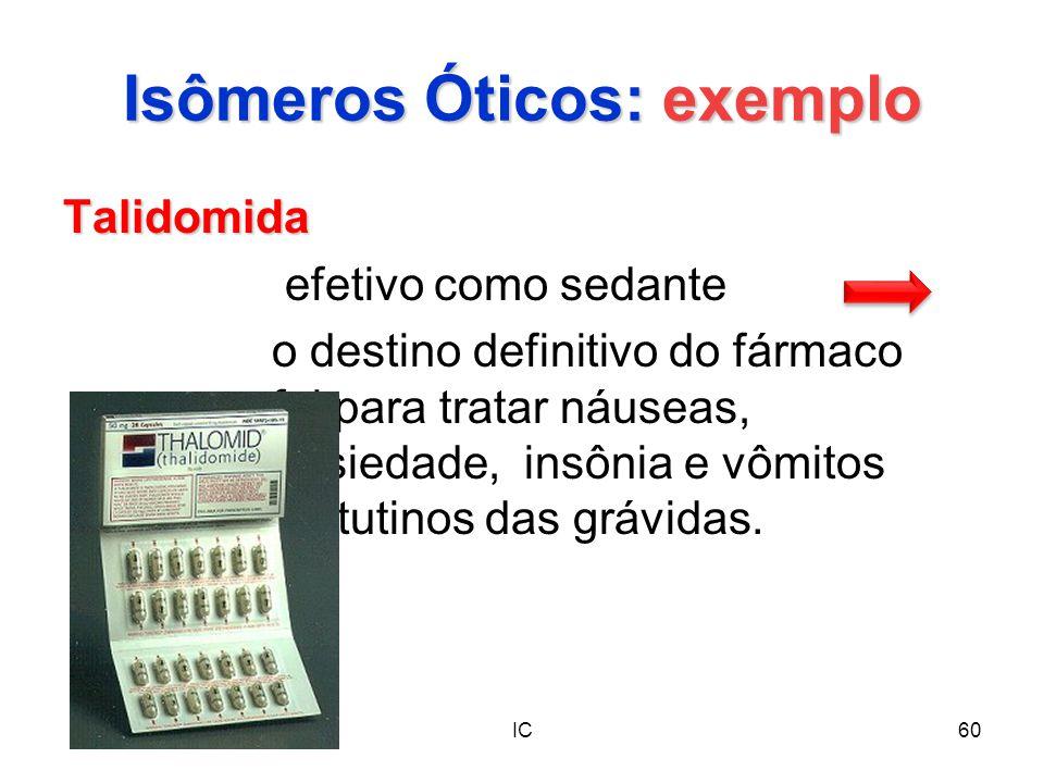 IC60 Isômeros Óticos: exemplo Talidomida efetivo como sedante o destino definitivo do fármaco foi para tratar náuseas, ansiedade, insônia e vômitos ma