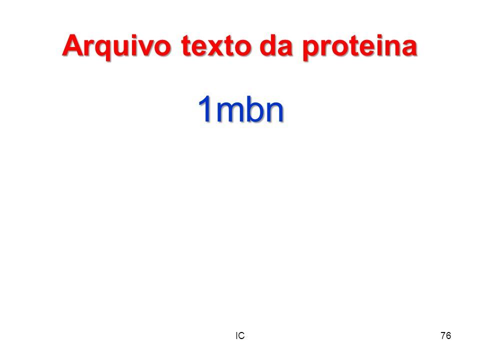 Arquivo texto da proteina 1mbn IC76