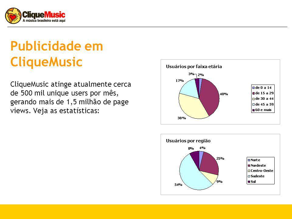 Publicidade em CliqueMusic CliqueMusic atinge atualmente cerca de 500 mil unique users por mês, gerando mais de 1,5 milhão de page views. Veja as esta