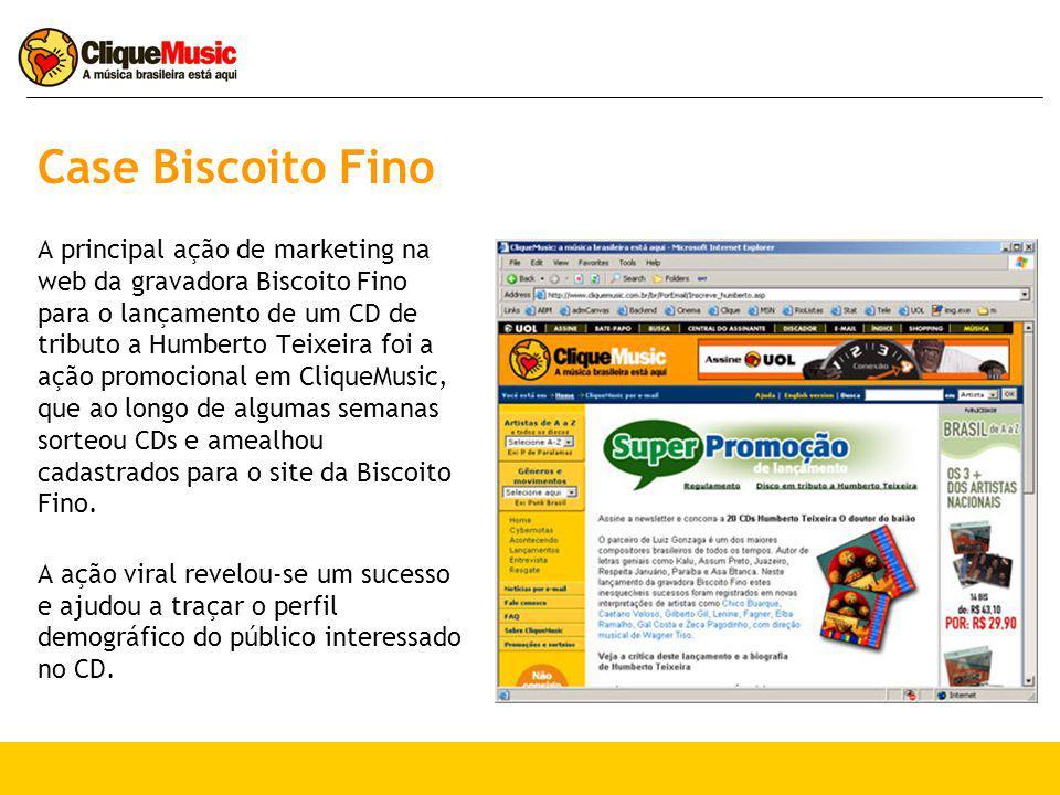Case Biscoito Fino A principal ação de marketing na web da gravadora Biscoito Fino para o lançamento de um CD de tributo a Humberto Teixeira foi a ação promocional em CliqueMusic, que ao longo de algumas semanas sorteou CDs e amealhou cadastrados para o site da Biscoito Fino.