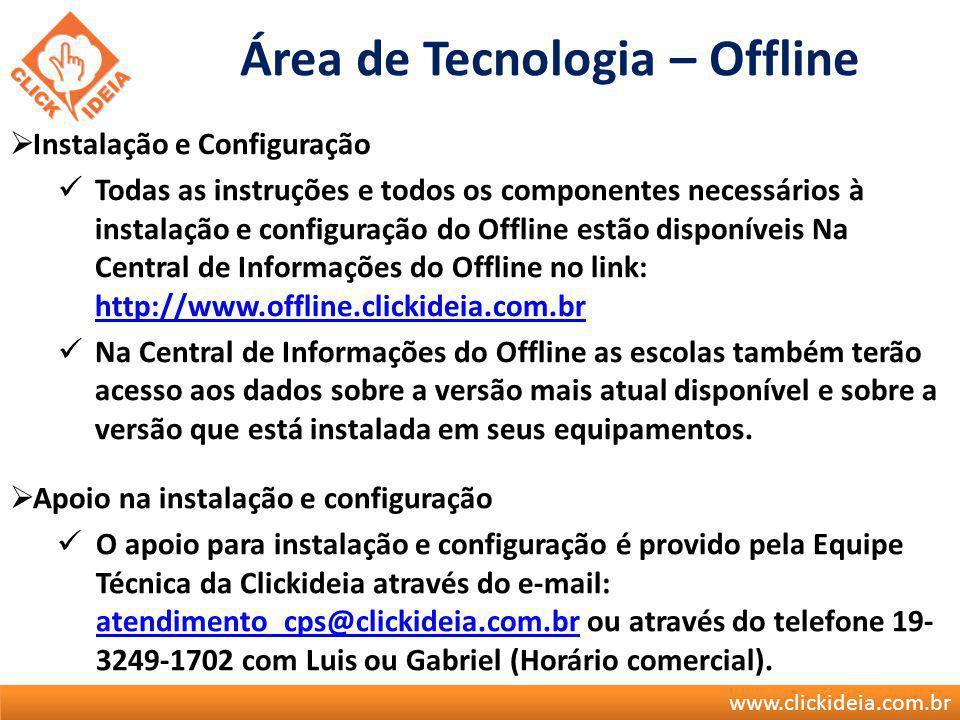 www.clickideia.com.br Área de Tecnologia – Offline Instalação e Configuração Todas as instruções e todos os componentes necessários à instalação e con