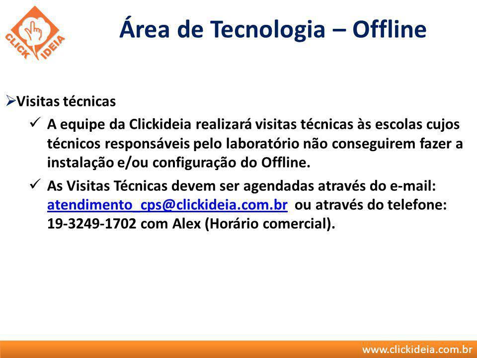 www.clickideia.com.br Visitas técnicas A equipe da Clickideia realizará visitas técnicas às escolas cujos técnicos responsáveis pelo laboratório não c