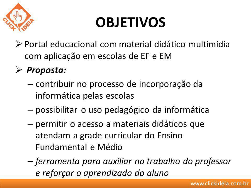 www.clickideia.com.br OBJETIVOS Portal educacional com material didático multimídia com aplicação em escolas de EF e EM Proposta: – contribuir no proc