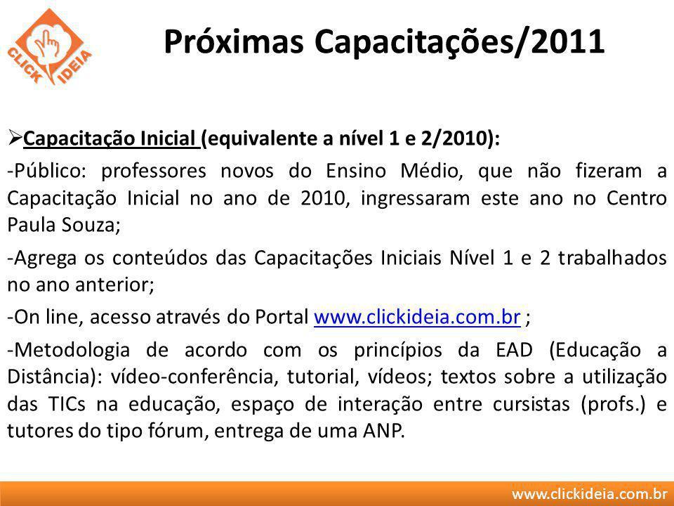 www.clickideia.com.br Próximas Capacitações/2011 Capacitação Inicial (equivalente a nível 1 e 2/2010): -Público: professores novos do Ensino Médio, qu