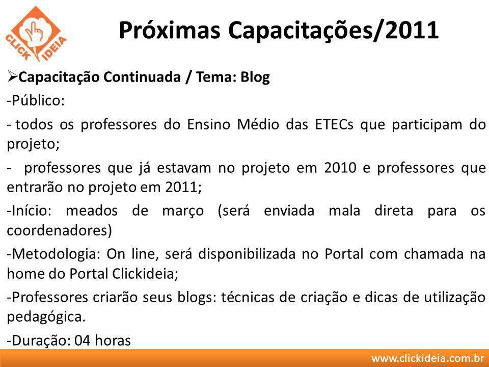 www.clickideia.com.br Próximas Capacitações/2011 Capacitação Continuada / Tema: Blog -Público: - todos os professores do Ensino Médio das ETECs que pa