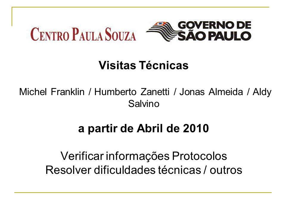 Visitas Técnicas Michel Franklin / Humberto Zanetti / Jonas Almeida / Aldy Salvino a partir de Abril de 2010 Verificar informações Protocolos Resolver