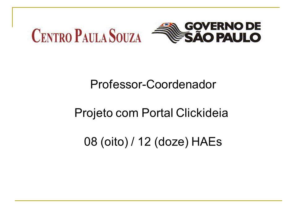 Professor-Coordenador Projeto com Portal Clickideia 08 (oito) / 12 (doze) HAEs