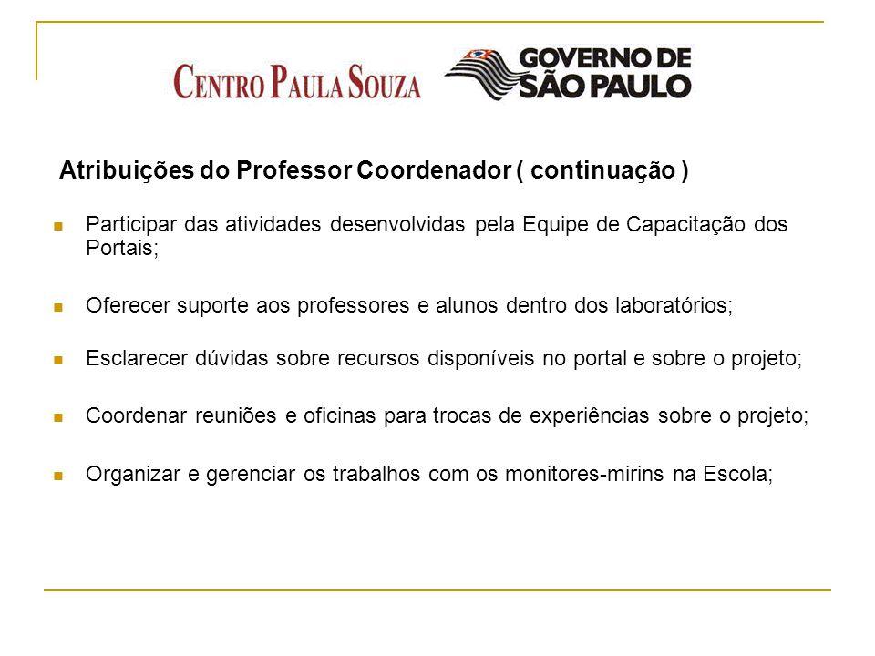 Atribuições do Professor Coordenador ( continuação ) Participar das atividades desenvolvidas pela Equipe de Capacitação dos Portais; Oferecer suporte