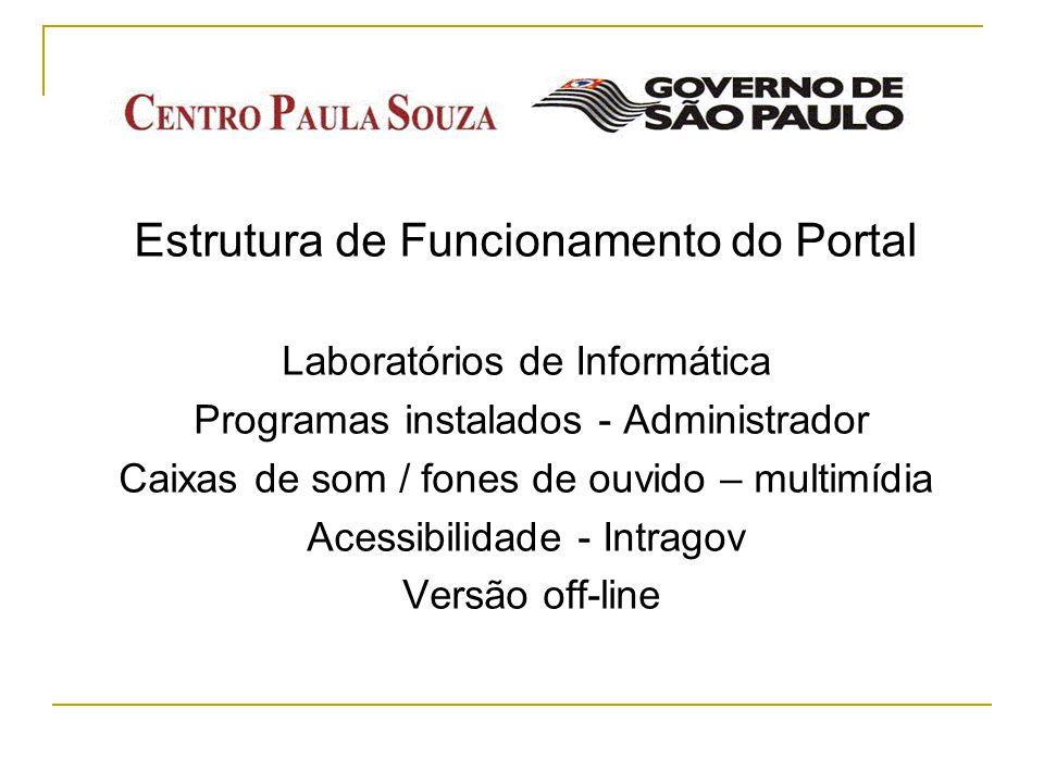 Estrutura de Funcionamento do Portal Laboratórios de Informática Programas instalados - Administrador Caixas de som / fones de ouvido – multimídia Ace