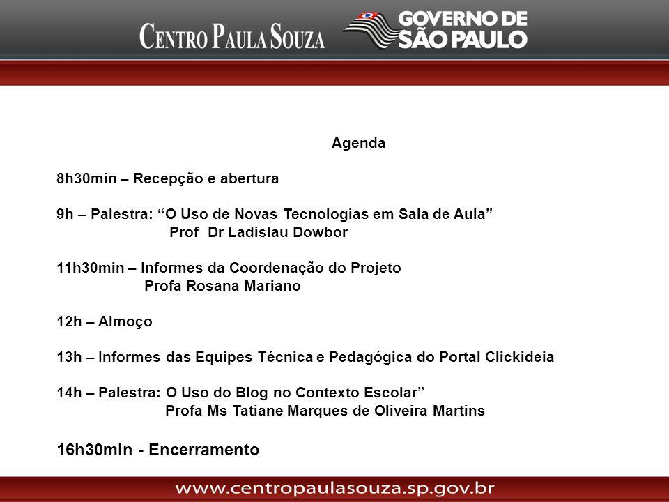 Agenda 8h30min – Recepção e abertura 9h – Palestra: O Uso de Novas Tecnologias em Sala de Aula Prof Dr Ladislau Dowbor 11h30min – Informes da Coordena