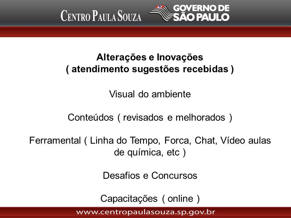 Alterações e Inovações ( atendimento sugestões recebidas ) Visual do ambiente Conteúdos ( revisados e melhorados ) Ferramental ( Linha do Tempo, Forca