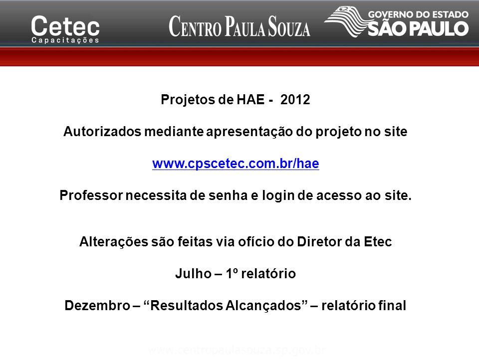 Projetos de HAE - 2012 Autorizados mediante apresentação do projeto no site www.cpscetec.com.br/hae Professor necessita de senha e login de acesso ao