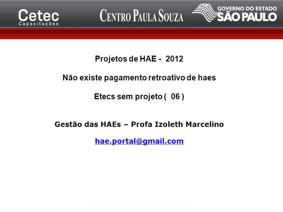 Projetos de HAE - 2012 Não existe pagamento retroativo de haes Etecs sem projeto ( 06 ) Gestão das HAEs – Profa Izoleth Marcelino hae.portal@gmail.com