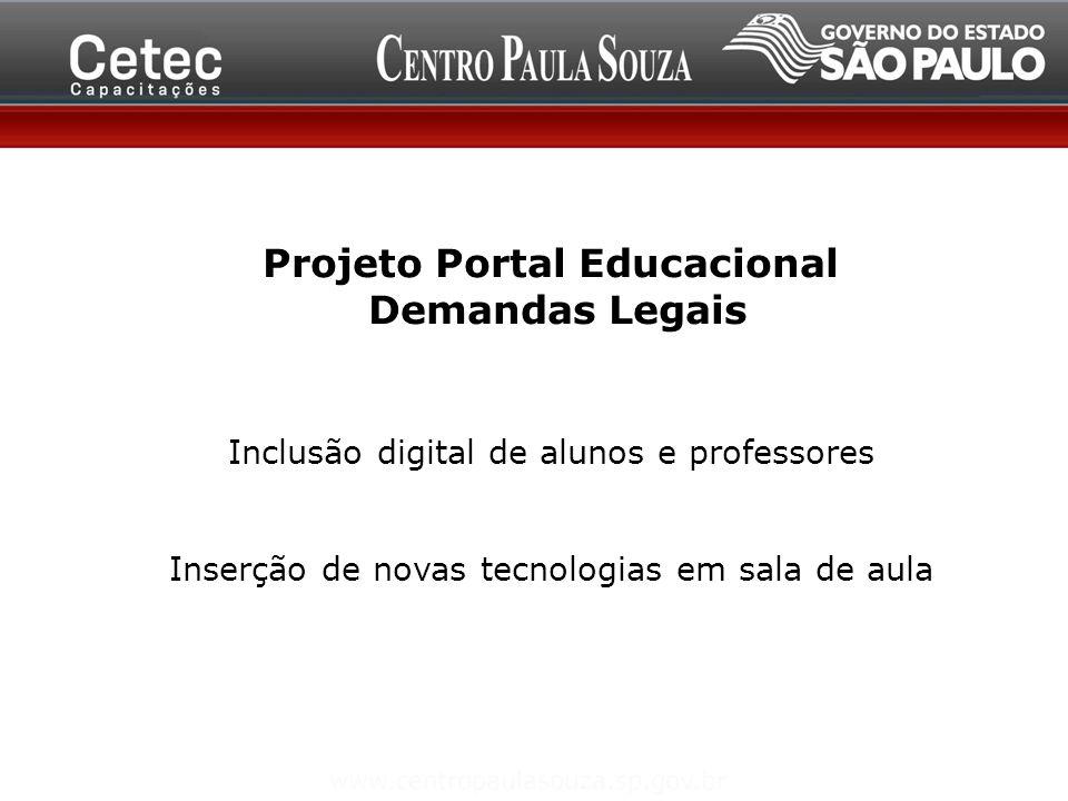 Projeto Portal Educacional Demandas Legais Inclusão digital de alunos e professores Inserção de novas tecnologias em sala de aula