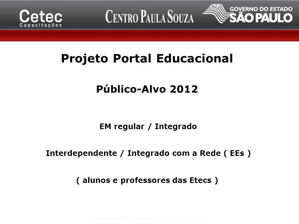 Projeto Portal Educacional Público-Alvo 2012 EM regular / Integrado Interdependente / Integrado com a Rede ( EEs ) ( alunos e professores das Etecs )