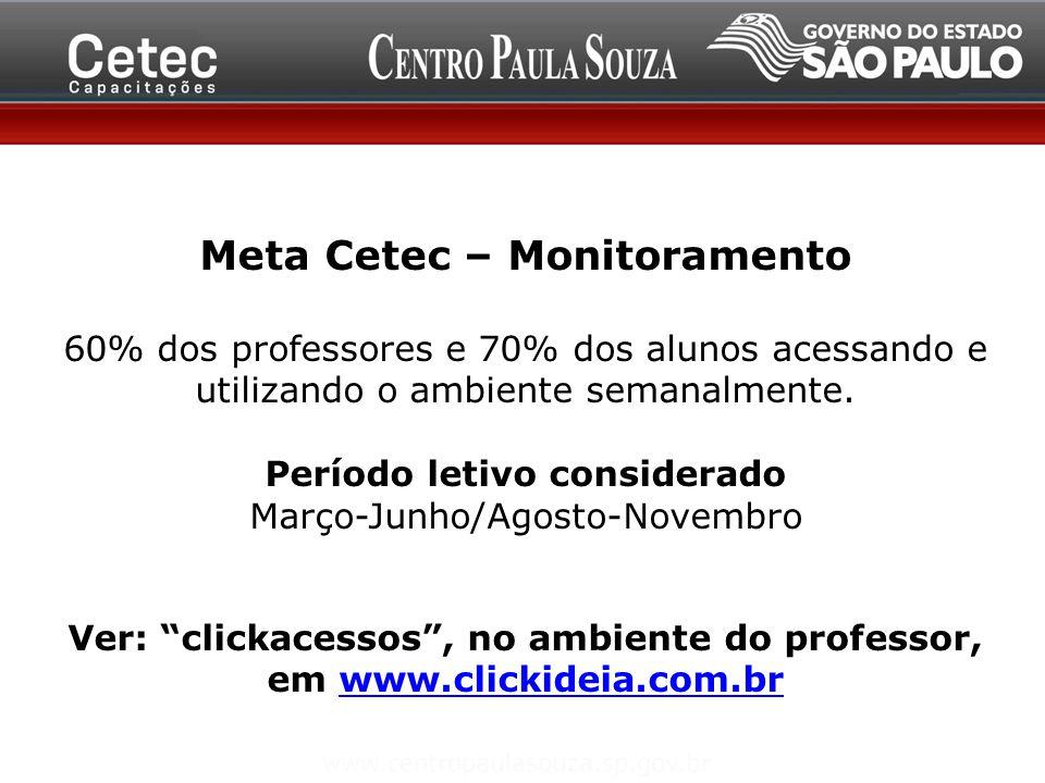 Meta Cetec – Monitoramento 60% dos professores e 70% dos alunos acessando e utilizando o ambiente semanalmente. Período letivo considerado Março-Junho