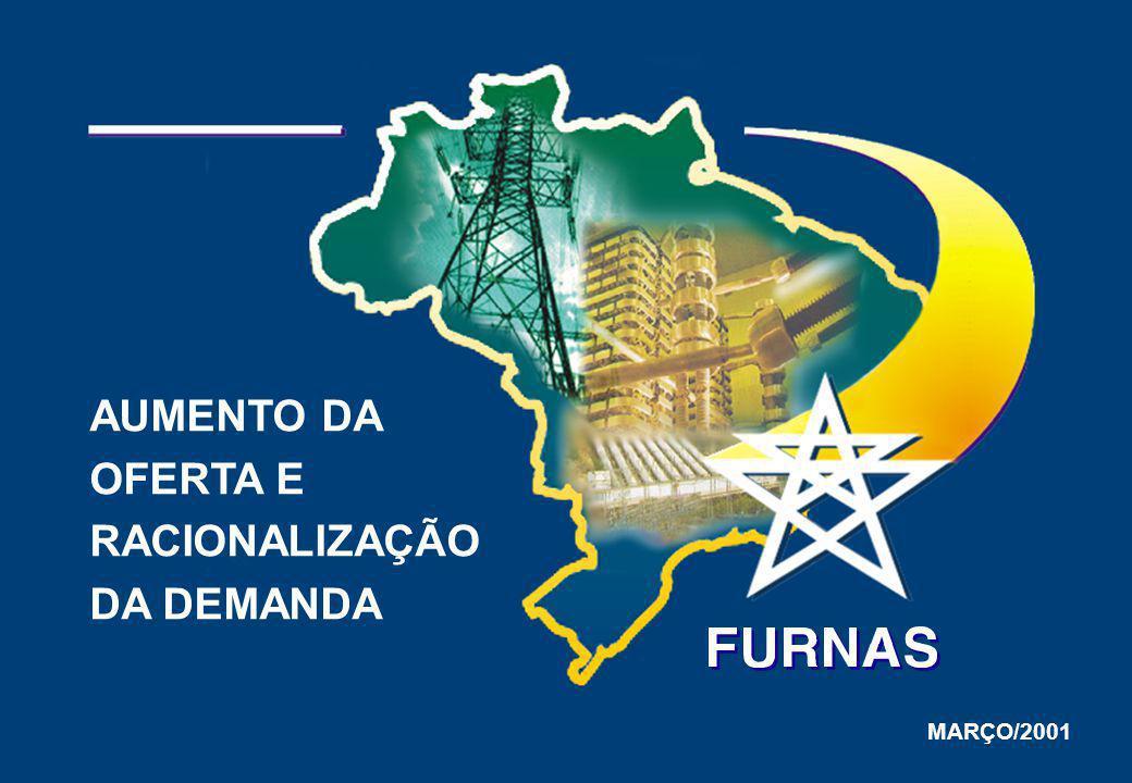 EMPREENDIMENTO OBSERVAÇÕES SE Itaberá – 5A 3 Capacitores Série (414 MVAr cada) Acrescenta 400 MW no atendimento à região Sudeste Possibilidade de antecipação de 1 a 2 meses SE Campos 9A Compensador Estático (100MVAr) e Capacitores Associados EMPREENDIMENTOS DE TRANSMISSÃO EM IMPLANTAÇÃO ENERGIZAÇÃO PREVISTA 05 / 2002 Controle de tensão em condições de emergência para melhoria ao atendimento da área Norte RJ / ES 31 / 05 / 2001 SE Angra 4A 1 Banco de Transformadores 500/138 kV e 1 Transformador Defasador 138 / 138 kV Acrescenta 100 MW no atendimento à área Rio, promovendo também redução das perdas 17 / 06 / 2001 SE Água Vermelha – C 1 Banco de Transformadores 500 / 440 kV Aumenta a capacidade de intercâmbio em 900 MW entre bacias da região Sudeste 31 / 10 / 2001 SE Samambaia 1A 2 Banco de Transformadores 345/138 kV Acrescenta até 450 MW no atendimento à CEB / CELG Possibilidade de antecipação de 1 a 2 meses 15 / 12 / 2001 LT 138 kV São José - Magé Melhoria no atendimento à CERJ 31 / 05 / 2001