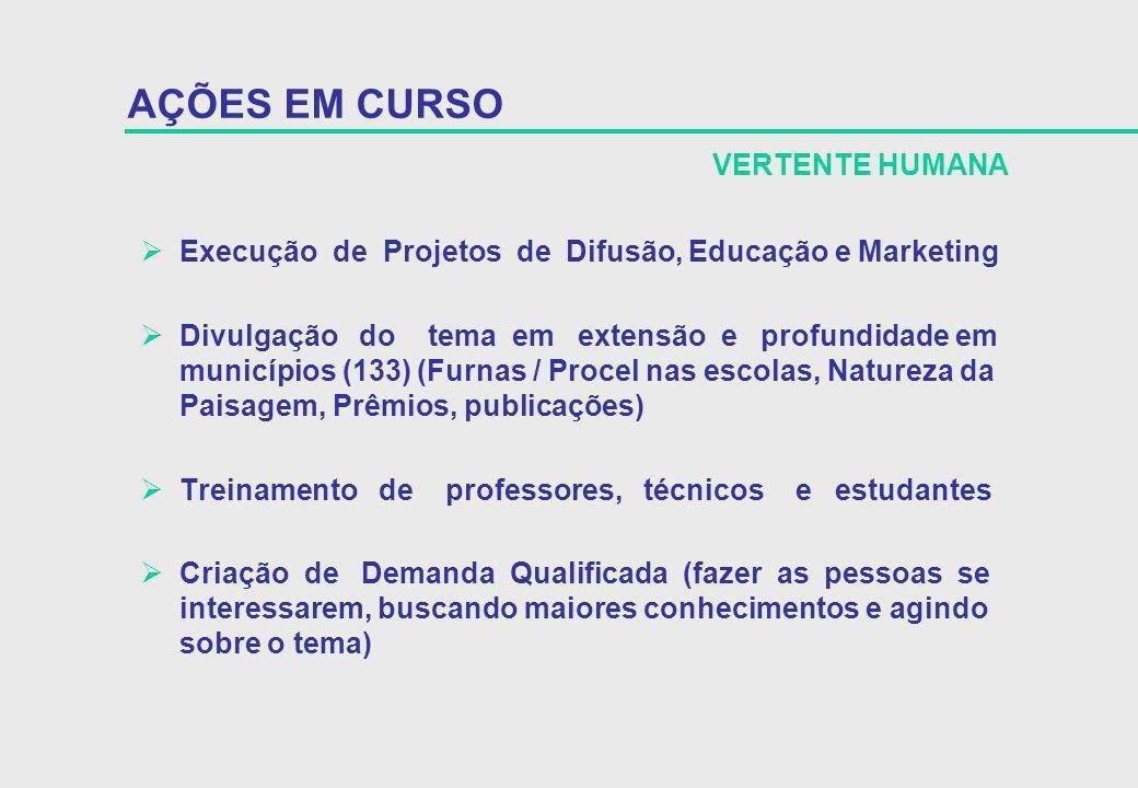 Execução de Projetos de Difusão, Educação e Marketing Divulgação do tema em extensão e profundidade em municípios (133) (Furnas / Procel nas escolas,