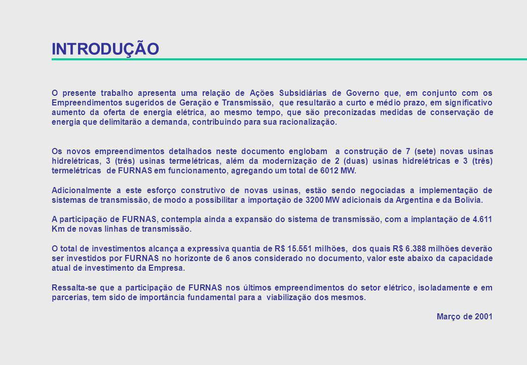 EMPREENDIMENTO OBSERVAÇÕES LT 750 kV Itaberá – Tijuco Preto III Aumenta até 600 MW no atendimento à região Sudeste Esforço para maior antecipação SE Vitória 9A 1 Banco de Transformadores 345 / 138 kV e 2 Bancos de Capacitores 13,8 kV EMPREENDIMENTOS DE TRANSMISSÃO EM IMPLANTAÇÃO ENERGIZAÇÃO PREVISTA 31 / 05 / 2001 Acrescenta até 225 MW no atendimento ao Espírito Santo Em processo de licitação por FURNAS 12 / 2001 SE Adrianópolis 13 A 1 Banco de Transformadores 345 / 138 kV Melhoria do atendimento à LIGHT e a CERJ Falta autorização da ANEEL Em processo de licitação por FURNAS 12 / 2001 SE Rio Verde 10A 1 Banco de Transformadores 230 / 138 kV Melhoria no atendimento à CELG Falta autorização da ANEEL Em processo de licitação por FURNAS 12 / 2001 SE Tijuco Preto 6A 2 Bancos de Capacitores 345 kV Melhoria no controle de tensão e aumento da capacidade transmissão para a região Sudeste Falta autorização da ANEEL Em processo de licitação por FURNAS Esforço para antecipação de 1 mês 12 / 2001