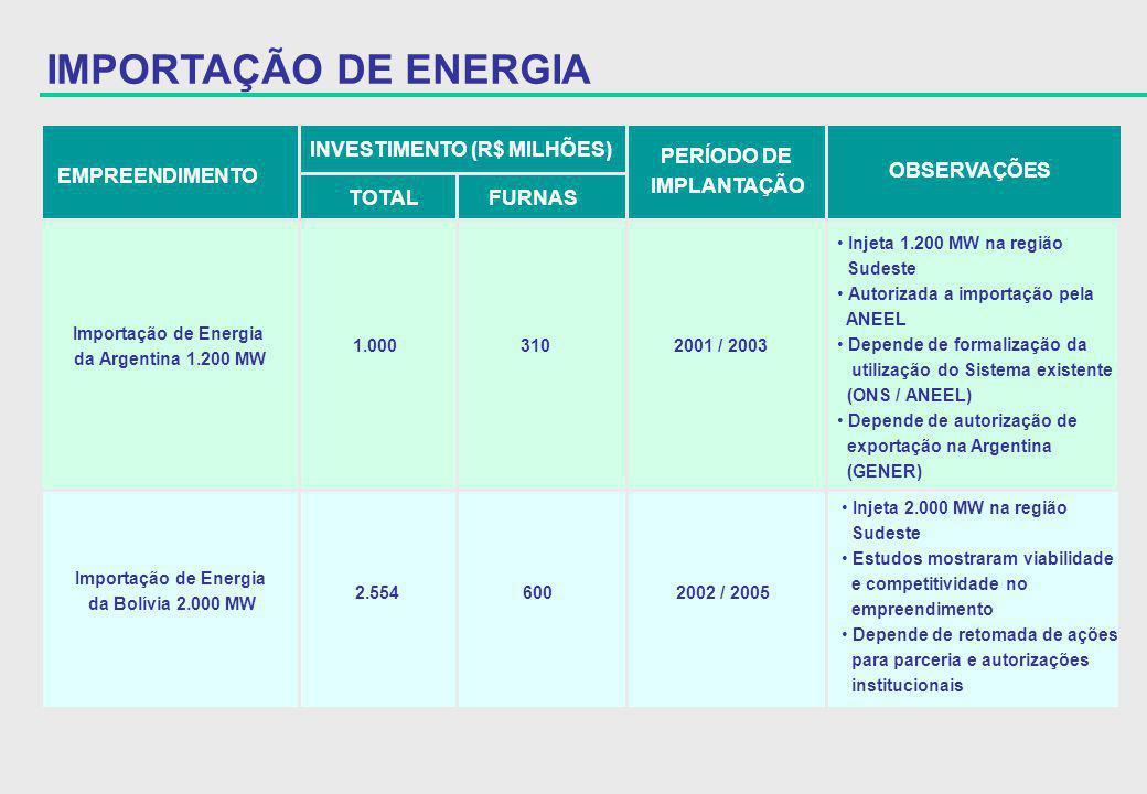 EMPREENDIMENTO INVESTIMENTO (R$ MILHÕES) TOTAL FURNAS PERÍODO DE IMPLANTAÇÃO OBSERVAÇÕES Importação de Energia da Argentina 1.200 MW 1.000 310 2001 /