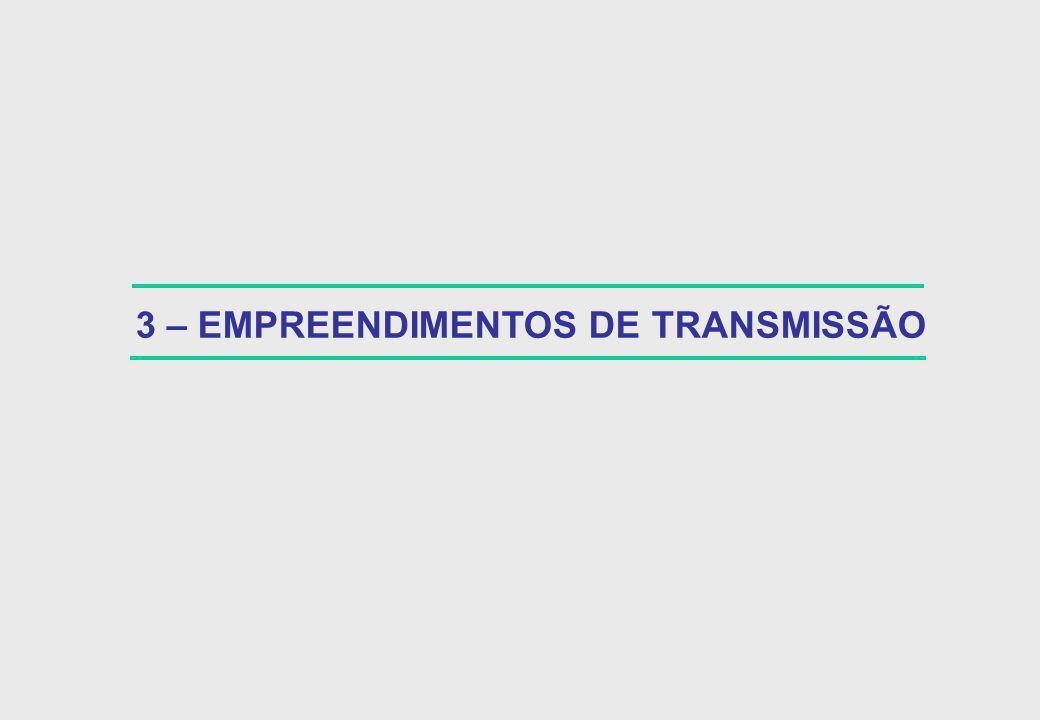 LT Samambaia - Itumbiara 500 kV – 300 km (*) 140 42 2001 / 2003 Possibilidade de Parceria com o Consórcio Concessionário ( INTER EXPANSION) EMPREENDIMENTO INVESTIMENTO (R$ MILHÕES) TOTAL FURNAS PERÍODO DE IMPLANTAÇÃO OBSERVAÇÕES LT Norte – Sul II 500 kV – 1.280 km (*) 600 240 2001 / 2003 Depende da ELETROBRÁS obter autorização do CND para formalizar parceria com a NOVATRANS LT Itumbiara – Marimbondo 500 kV – 210 km (*) 80 80 2001 / 2003 Poderá ser implantada por FURNAS em caráter de excepcionalidade, em 18 meses, dependendo de autorização da ANEEL Possibilidade de Parceria com o Consórcio Concessionário (INTER EXPANSION) 130 39 2001 / 2003 LT Samambaia – Emborcação 500 kV – 280 km (*) Compensação série nos Circuitos Serra da Mesa / Samambaia (3 de 300 MVAR) (*) 90 90 2001 / 2003 Estudos recentes indicam a Necessidade desses bancos.