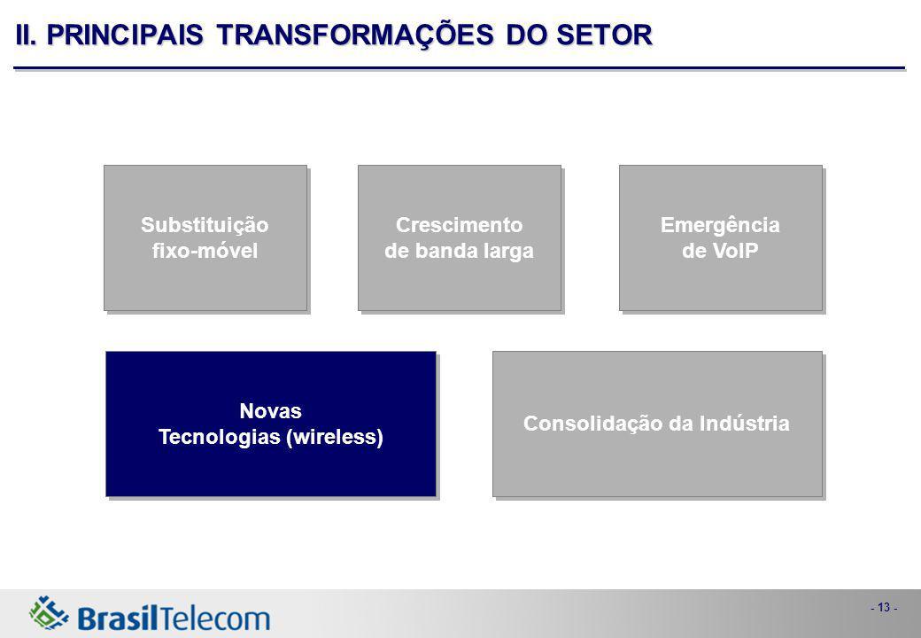 - 13 - Consolidação da Indústria Novas Tecnologias (wireless) Novas Tecnologias (wireless) Emergência de VoIP Emergência de VoIP Crescimento de banda