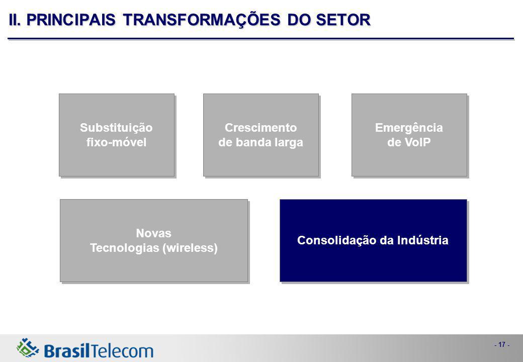 - 17 - Consolidação da Indústria Novas Tecnologias (wireless) Novas Tecnologias (wireless) Emergência de VoIP Emergência de VoIP Crescimento de banda