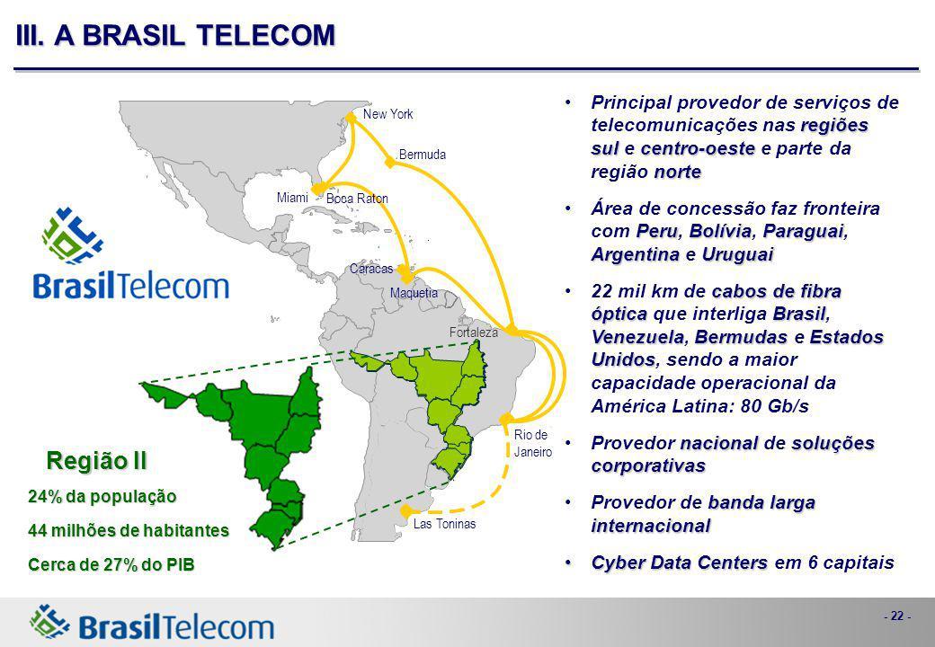 - 22 - III. A BRASIL TELECOM regiões sulcentro-oeste nortePrincipal provedor de serviços de telecomunicações nas regiões sul e centro-oeste e parte da