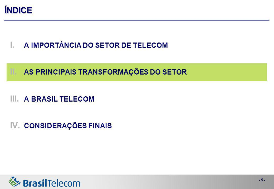 - 5 - ÍNDICE I. A IMPORTÂNCIA DO SETOR DE TELECOM II. AS PRINCIPAIS TRANSFORMAÇÕES DO SETOR III. A BRASIL TELECOM IV. CONSIDERAÇÕES FINAIS