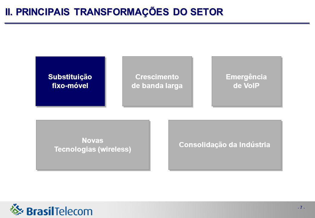- 7 - Consolidação da Indústria Novas Tecnologias (wireless) Novas Tecnologias (wireless) Emergência de VoIP Emergência de VoIP Crescimento de banda larga Crescimento de banda larga Substituição fixo-móvel Substituição fixo-móvel II.