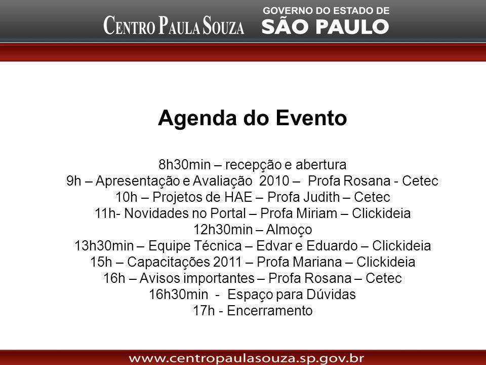 Agenda do Evento 8h30min – recepção e abertura 9h – Apresentação e Avaliação 2010 – Profa Rosana - Cetec 10h – Projetos de HAE – Profa Judith – Cetec