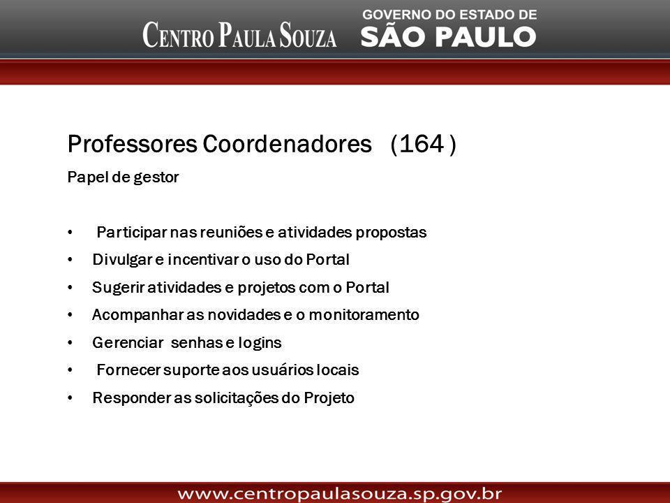 Professores Coordenadores (164 ) Papel de gestor Participar nas reuniões e atividades propostas Divulgar e incentivar o uso do Portal Sugerir atividad