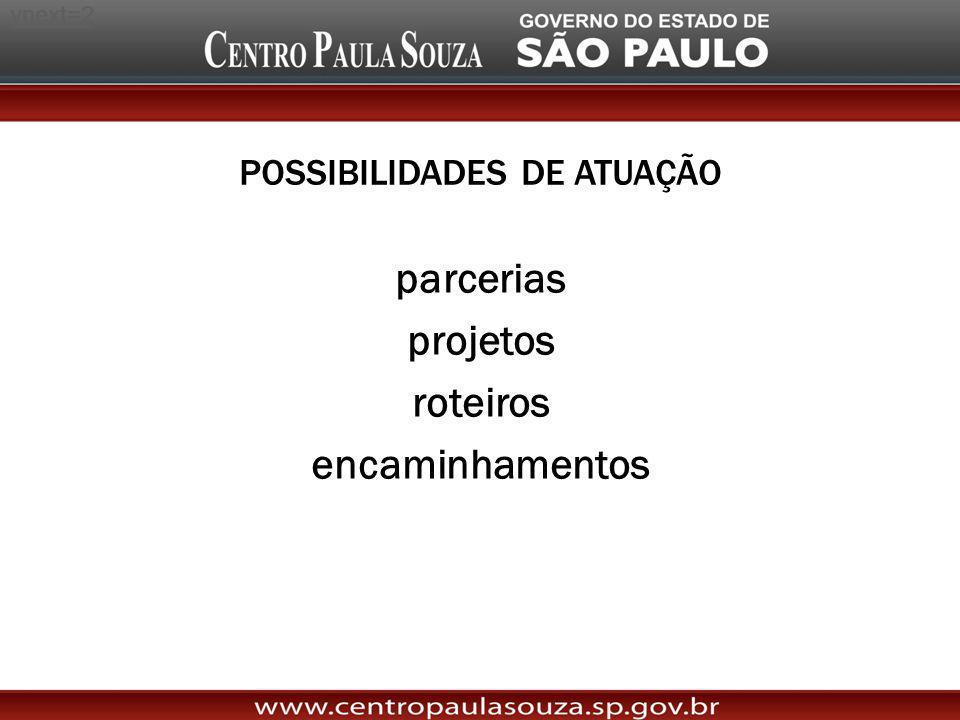 POSSIBILIDADES DE ATUAÇÃO parcerias projetos roteiros encaminhamentos http://www.youtube.com/watch?v=g8xgDu3hfiY&feature=autoplay&list=QL&index=1&pla