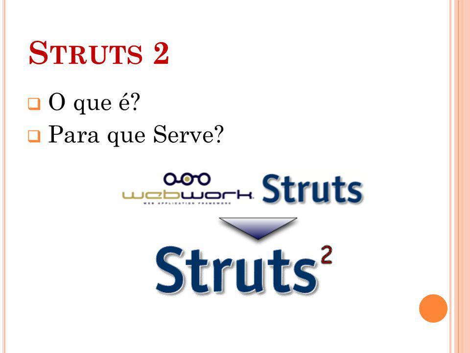 S TRUTS 2 C ARACTERÍSTICAS : Baseado em POJOs (Plain Old Java Object) Anotações ou XML Suporte a temas Validações detalhadas e customizáveis Páginas protegidas