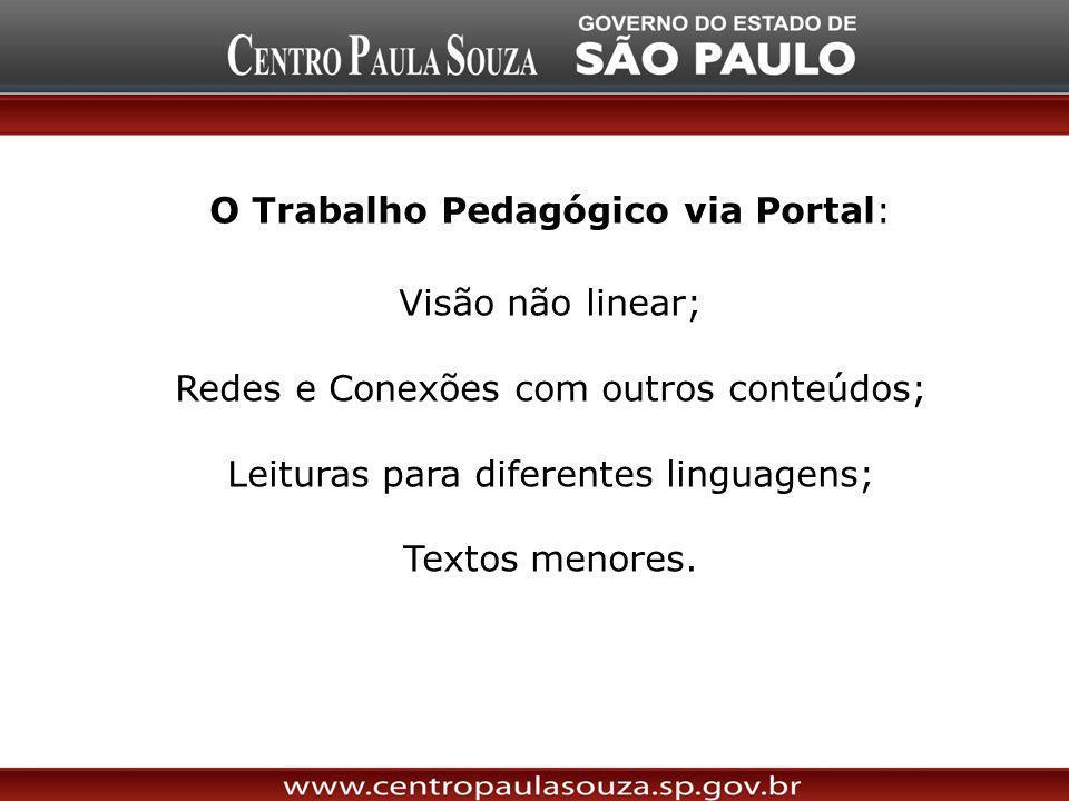 O Trabalho Pedagógico via Portal: Visão não linear; Redes e Conexões com outros conteúdos; Leituras para diferentes linguagens; Textos menores.