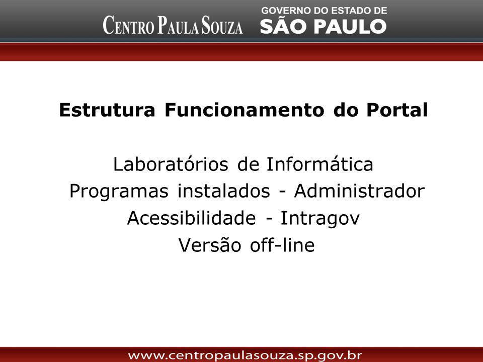 Estrutura Funcionamento do Portal Laboratórios de Informática Programas instalados - Administrador Acessibilidade - Intragov Versão off-line