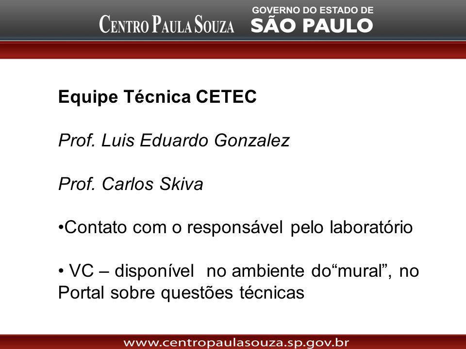 Equipe Técnica CETEC Prof. Luis Eduardo Gonzalez Prof. Carlos Skiva Contato com o responsável pelo laboratório VC – disponível no ambiente domural, no