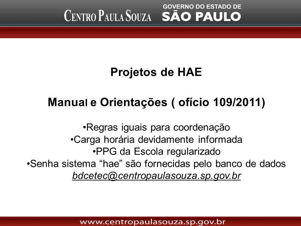 Projetos de HAE Manua l e Orientações ( ofício 109/2011) Regras iguais para coordenação Carga horária devidamente informada PPG da Escola regularizado