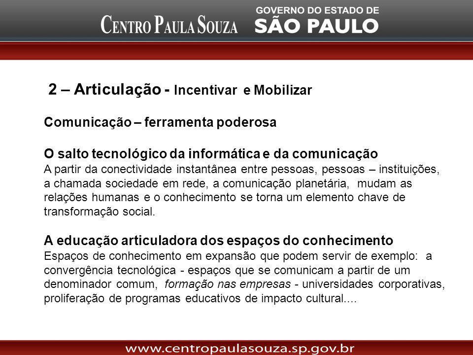 2 – Articulação - Incentivar e Mobilizar Comunicação – ferramenta poderosa O salto tecnológico da informática e da comunicação A partir da conectivida