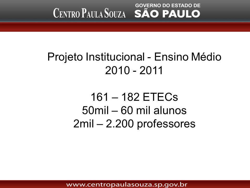 Projeto Institucional - Ensino Médio 2010 - 2011 161 – 182 ETECs 50mil – 60 mil alunos 2mil – 2.200 professores