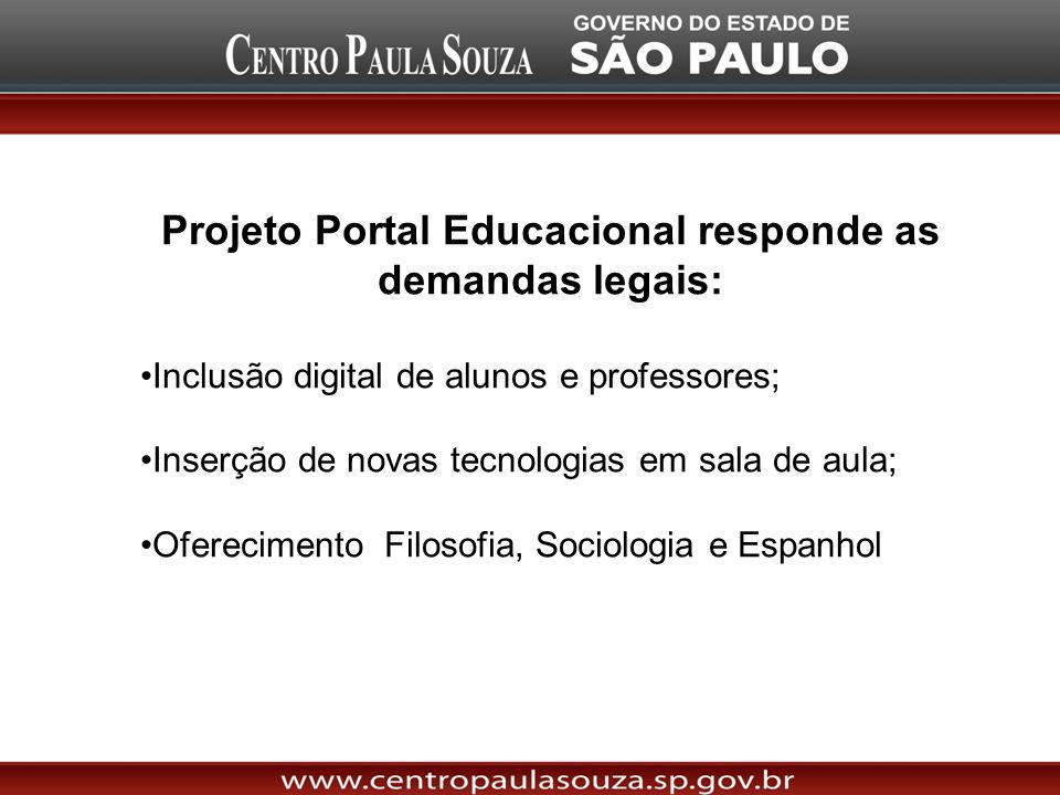 Projeto Portal Educacional responde as demandas legais: Inclusão digital de alunos e professores; Inserção de novas tecnologias em sala de aula; Oferecimento Filosofia, Sociologia e Espanhol