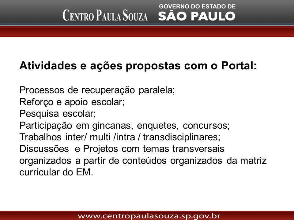 Atividades e ações propostas com o Portal: Processos de recuperação paralela; Reforço e apoio escolar; Pesquisa escolar; Participação em gincanas, enq