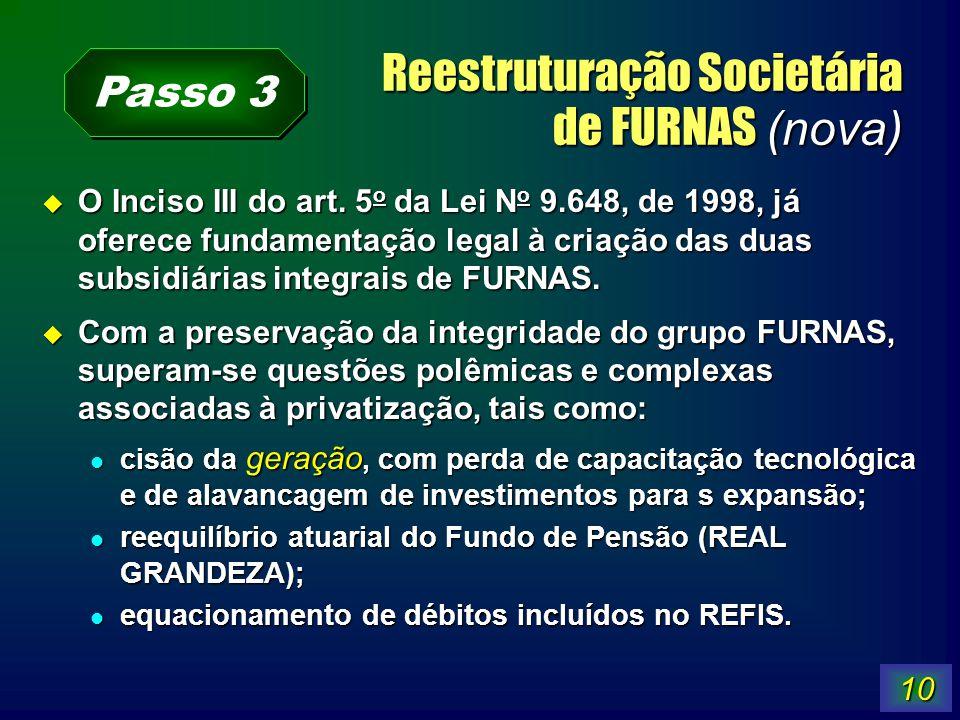 10 Reestruturação Societária de FURNAS (nova) O Inciso III do art. 5 o da Lei N o 9.648, de 1998, já oferece fundamentação legal à criação das duas su