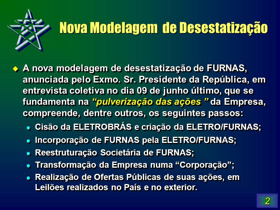 2 Nova Modelagem de Desestatização A nova modelagem de desestatização de FURNAS, anunciada pelo Exmo. Sr. Presidente da República, em entrevista colet
