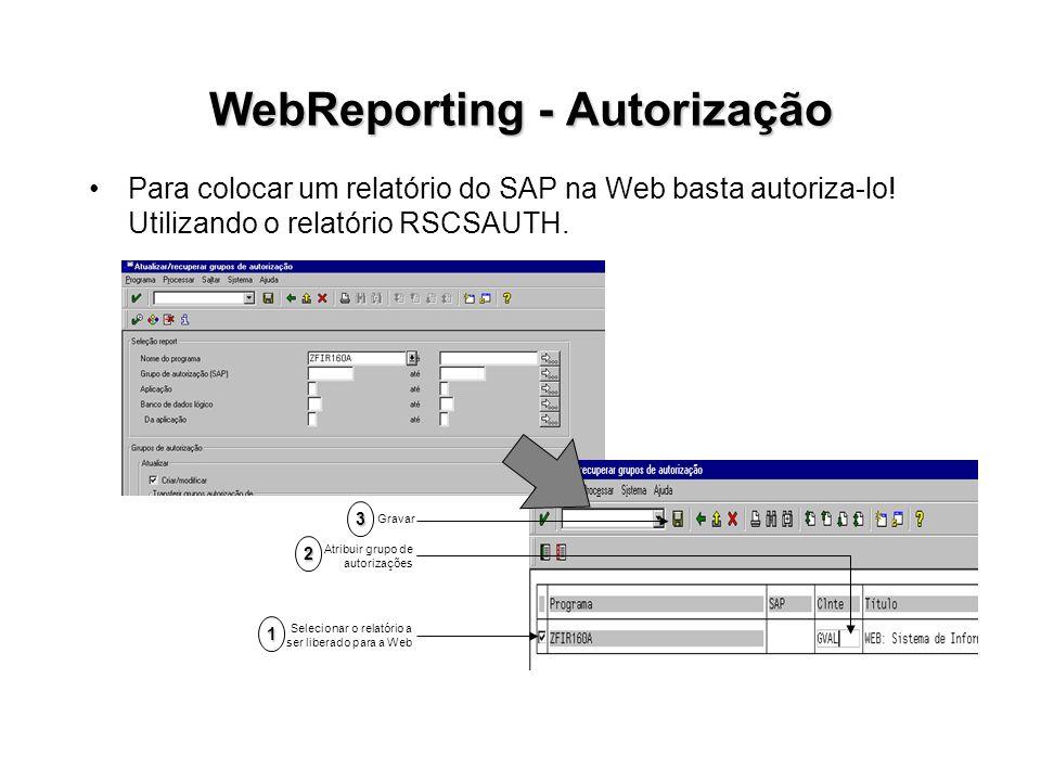 WebReporting - Autorização Para colocar um relatório do SAP na Web basta autoriza-lo! Utilizando o relatório RSCSAUTH. Selecionar o relatório a ser li