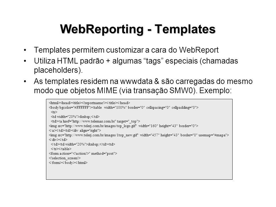 WebReporting - Templates Templates permitem customizar a cara do WebReport Utiliza HTML padrão + algumas tags especiais (chamadas placeholders). As te